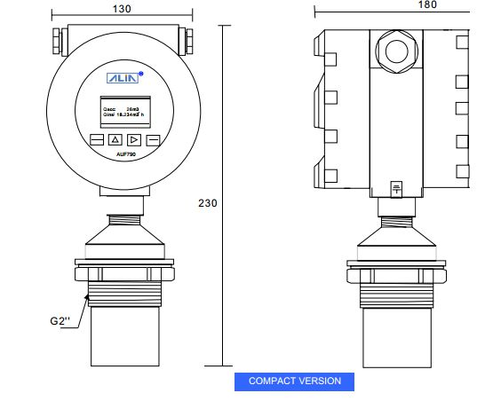 Kích thước cảm biến đo lưu lượng kênh hở AUF790