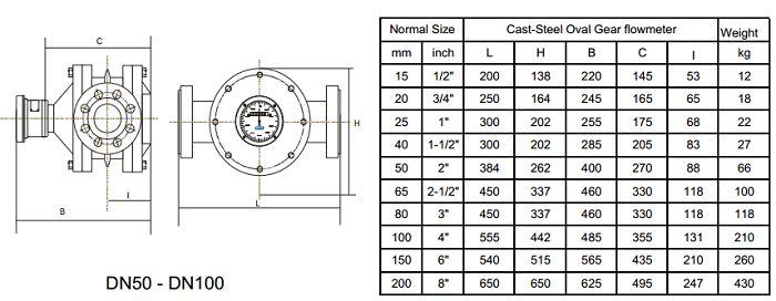 Kích thước đồng hồ đo lưu lượng dầu APF810