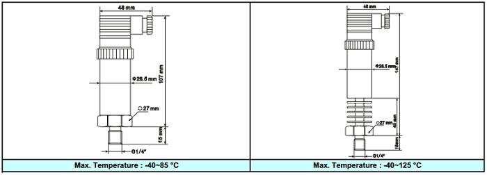 Kích thước cảm biến áp suất APT3000