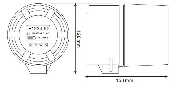 Kích thước đồng hồ lưu lượng nước AMC4000
