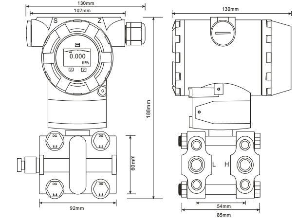 Kích thước đồng hồ đo chênh áp ADP9000