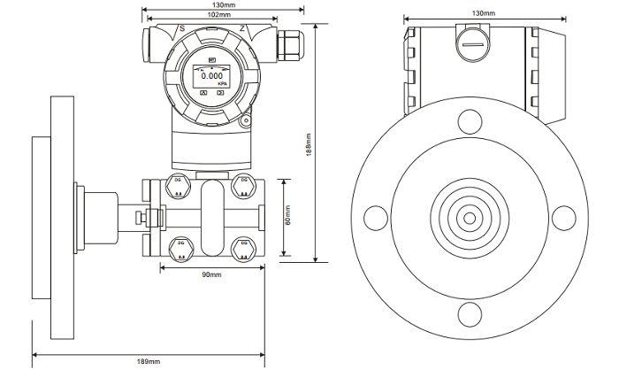 Kích thước đồng hồ chênh áp ADP9000L