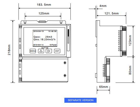 Kích thước bộ đo lưu lượng kênh hở AUF790