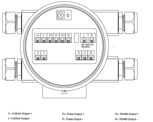 Sơ đồ đấu đồng hồ đo lưu lượng điện tử AMC3200