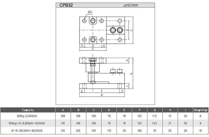 kích thước loadcell 500kg dòng CPB, Dacell Hàn Quốc